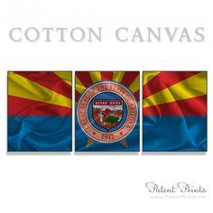 Arizona State Seal and Flag Canvas Print