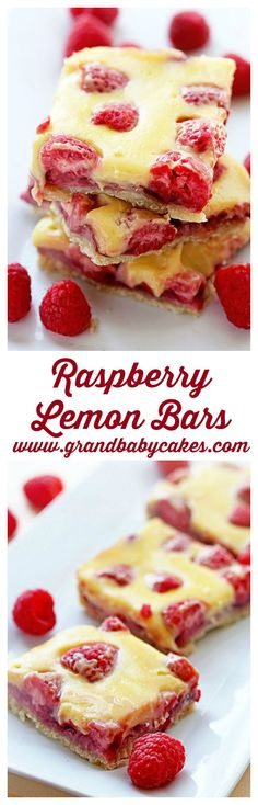 Raspberry Lemon Bars- Raspberry and Lemon Never Tasted so Good! ~ http://www.grandbaby-cakes.com