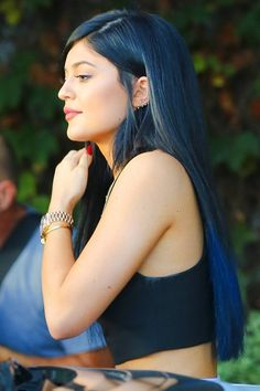 September 2014  Kylie Jenner just can't stick to one style (or shade) for long. The reality star debuted this dark blue rinse as she headed out in LA in mid September. And it looks almost as good from the back...
