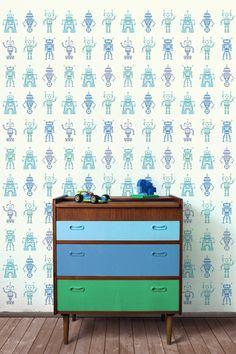 Robot, Stencils, Dresser, Table, Furniture, Home Decor, Kids, Painted Furniture, Young Children