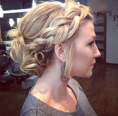 side crown braid messy updo.
