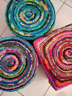 Plastic bags used as yarn to make rugs, baskets