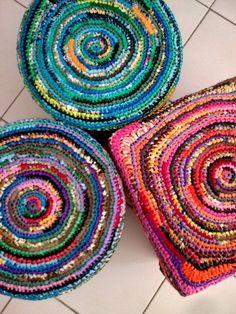 Plastic bags used as yarn to make rugs, baskets