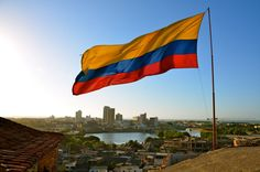 flag of colombia above cartagena