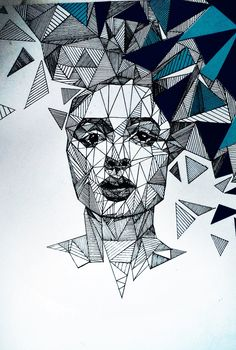 geometric line art illustration в 2019 г. Art Painting, Line Art Drawings, Art Sketchbook, Art Drawings, Drawings, Geometric Drawing, Mandala Design Art, Geometric Portrait, Illustration Art