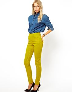 UK16/US12 - 30$CAD  ASOS High Waist Trousers in Cotton Twill chartreuse