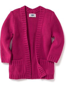 Open-Front Cardi-Coat for Toddler in Party Started Pink