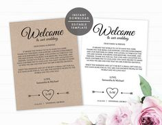 Wedding welcome bag note welcome letter template kit instant printable welcome bag note welcome letter template wedding thank you note instant download pronofoot35fo Gallery