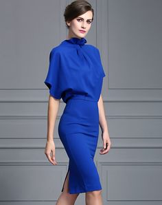 Royal Blue Batwing Sleeve Luxe Look Sheath Midi Dress I found this beautiful item on VIPme.com.Check it out!