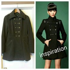 Military Style Coat Amazing Military style coat with antique gold finish buttons.Pockets with zipper in front.Great condition.Fully lined.Worn only a handful of times. Forever 21 Jackets & Coats