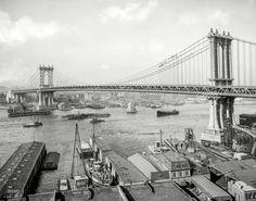 Manhattan Bridge and East River from Brooklyn New York City, circa Manhattan Bridge, Brooklyn Bridge, Brooklyn New York, New York City, Vintage Photographs, Vintage Photos, Nyc, Vintage New York, Create Photo