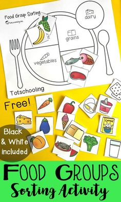 FREE sorting activity for preschool and kindergarten to learn about the five main food groups. Teach kids about healthy eating and balanced meals. Includes both color and black and white versions and 20 images of food to sort in the correct group.