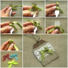 Mini Fork Bow Tutorial - I am pinning this just so I can refer to it when it comes to making these bows! Diy And Crafts, Arts And Crafts, Paper Crafts, Fork Crafts, Fork Bow, Creation Deco, Diy Bow, Cute Bows, How To Make Bows