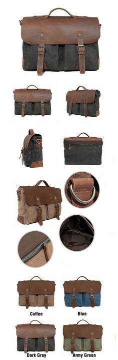 Handmade Vintage Leather Waxd Canvas Briefcase Messenger Bag Laptop Bag Shoulder Bag