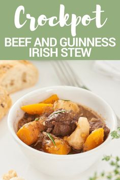 THIS CROCKPOT BEEF AND GUINNESS IRISH STEW IS DELICIOUS!!  When it's cool outside nothing warms me up better than a nice beef stew that can be made ahead and placed in a slow cooker to be ready for me when I get home.It's also chock full of vitamins! #stpatricksday #irishstew #beefstew #guinnessstew
