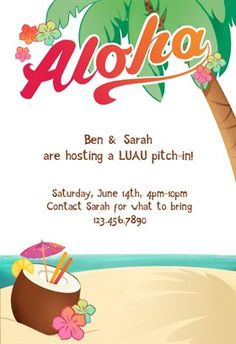 Luau Party - Free Printable Summer Party Invitation Template | Greetings Island