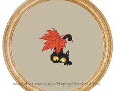 Cross Stitch Pattern PDF cat with maple leaf DD0184