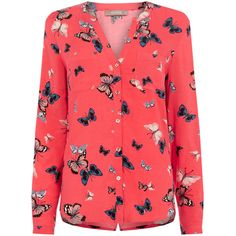 BUTTERFLY SHIRT ($50) ❤ liked on Polyvore featuring tops, butterfly top, shirt tops, red shirt, coral shirt and coral top
