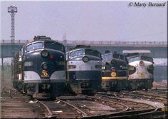 Four E units, each of different heritage (including C&O E8A #4026 to the far left), rest at the Ivy City engine terminal in Washington, D.C. on April 29, 1970.