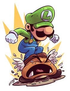 Chibi Luigi by mr. Cartoon Kunst, Cartoon Drawings, Cartoon Art, Cool Drawings, Super Mario Kunst, Super Mario Art, Super Mario Tattoo, Graffiti Characters, Chibi Characters
