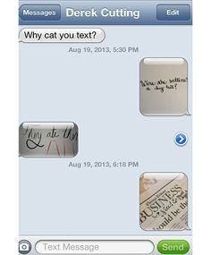 Handwritten text messages by Cristina Vanko