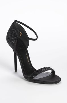 Gucci Noah crystal sandals, beautifully embellished black heeled sandals.   Women's fashion, Women's style, Heeled sandals.
