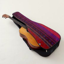 Red Purple Woven Look Stripes Guitar Case