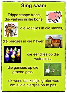 Trippe trappe trone, die varkies in die bone Maria Montessori, Preschool Learning, Teaching, Kids Poems, Children Songs, Afrikaanse Quotes, Rhymes Songs, Thing 1, School Themes