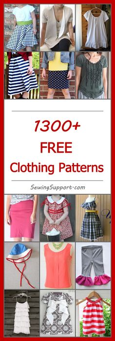 Lots of free clothing patterns! No registration required.