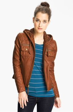 MICHAEL Michael Kors Hooded Leather Jacket | Nordstrom