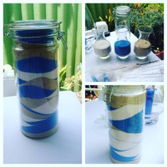 Sand blending blue and white theme Naming Ceremony, Inspirational Gifts, Baby Names, Backdrops, Water Bottle, Blue And White, Weddings, Ideas, Wedding