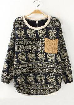 Black Floral Pockets Round Neck Cotton Blend Sweatshirt