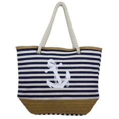 Nautical Theme Striped Beach Tote Bag Canvas Twine Body Braided Rope Handles NWT #Simi #SummerBeachBag Beach Tote Bags, Canvas Tote Bags, Nautical Theme, Twine, Purses And Bags, Braids, Bang Braids, Cornrows, Braid Hairstyles