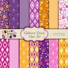 Colorama Dream Paper Set - lovely set of 14  digital  papers in stylish color  combination with floral  and ornate design,  this set can be used as    embellishments for invitations, cards,    stationery, scrapbooking etc.