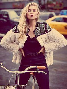 White Faux Fur Beaded Coat