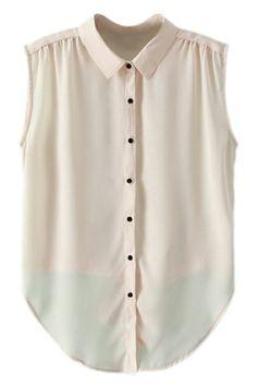 ROMWE   ROMWE Asymmetric Pleated Bowknot Sheer Cream Shirt, The Latest Street Fashion