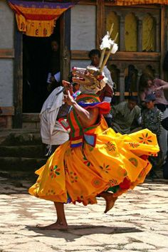 Cultural dance performing in Teji Buddhist festival in Mustang, Nepal