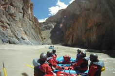 Whitewater rafting on the Zanskar River, India with Bio Bio Expeditions. Entering the fist canyon.