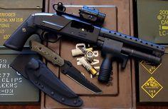 Shorty shotgun, guns, knife, weapons, self defense, protection, 2nd amendment, America, firearms, munitions #guns #weapons