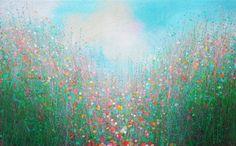 "Saatchi Art Artist Sandy Dooley; Painting, ""Spring Blue, Spring Green"" #art"