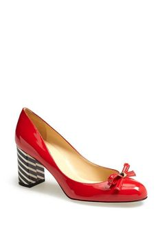 So cute! Red bow and navy stripe pumps | Kate Spade
