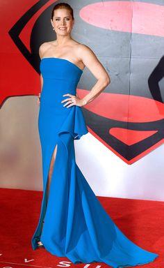 AMY ADAMS in a strapless, high-slit Antonio Berardi gown revealing platform Jimmy Choo sandals, plus Graziela Gems earrings for the Batman v Superman: Dawn of Justice premiere in London.
