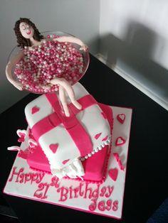 Blonde Girl In Martini Glass Cake Topper