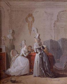 Jean-Baptiste Mallet (1759-1835)  The Visit  gouache on paperboard