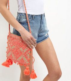 Pink Embroidered Pom Pom Drawstring Bag  | New Look