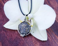 Ancient Coin Pendant - Athena Goddess of Wisdom - Sterling Silver