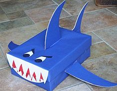 This page has a lot of free Shark craft idea for kids,parents and preschool teachers Preschool Crafts, Diy Crafts For Kids, Gifts For Kids, Preschool Teachers, Kindergarten, Valentine Day Boxes, Valentines For Boys, Tissue Box Crafts, Shark Craft