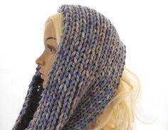 Blue Knit Cowl Neck Warmer in Shades of Denim Blue by Schalrausch, €16.50