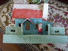 Vtg Christmas Cardboard House Coconut Fiber Santa Figure Putz Village Aqua Japan