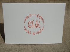 Personalized Custom Stationery Stationary - Monogram Framed Folded Notecard. $15.00, via Etsy.